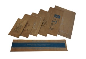 brown paper satchel gusset bags with print