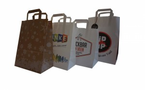 paper bags with flat handles with logo print
